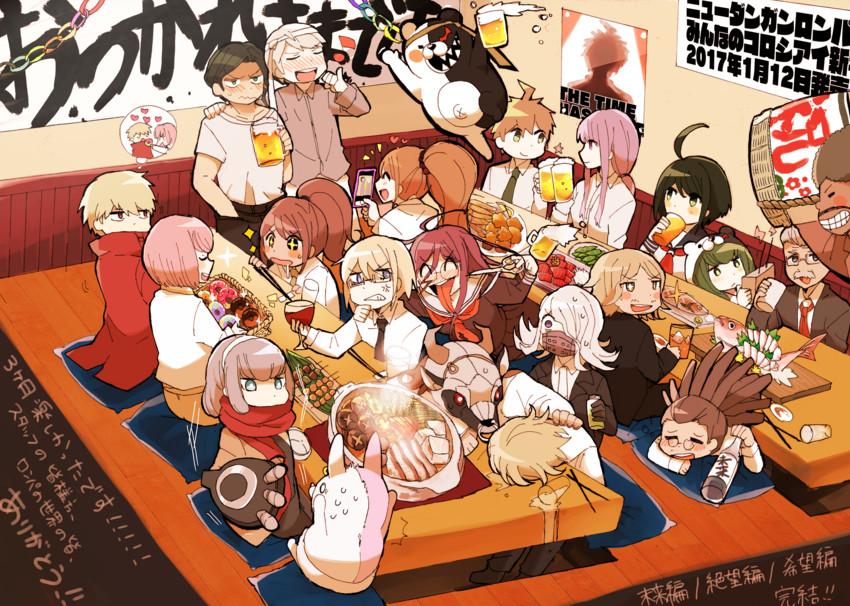 andou ruruka, asahina aoi, bandai daisaku, fukawa touko, gekkougahara miaya, and others (danganronpa and danganronpa 3) drawn by idate (horrygreen)
