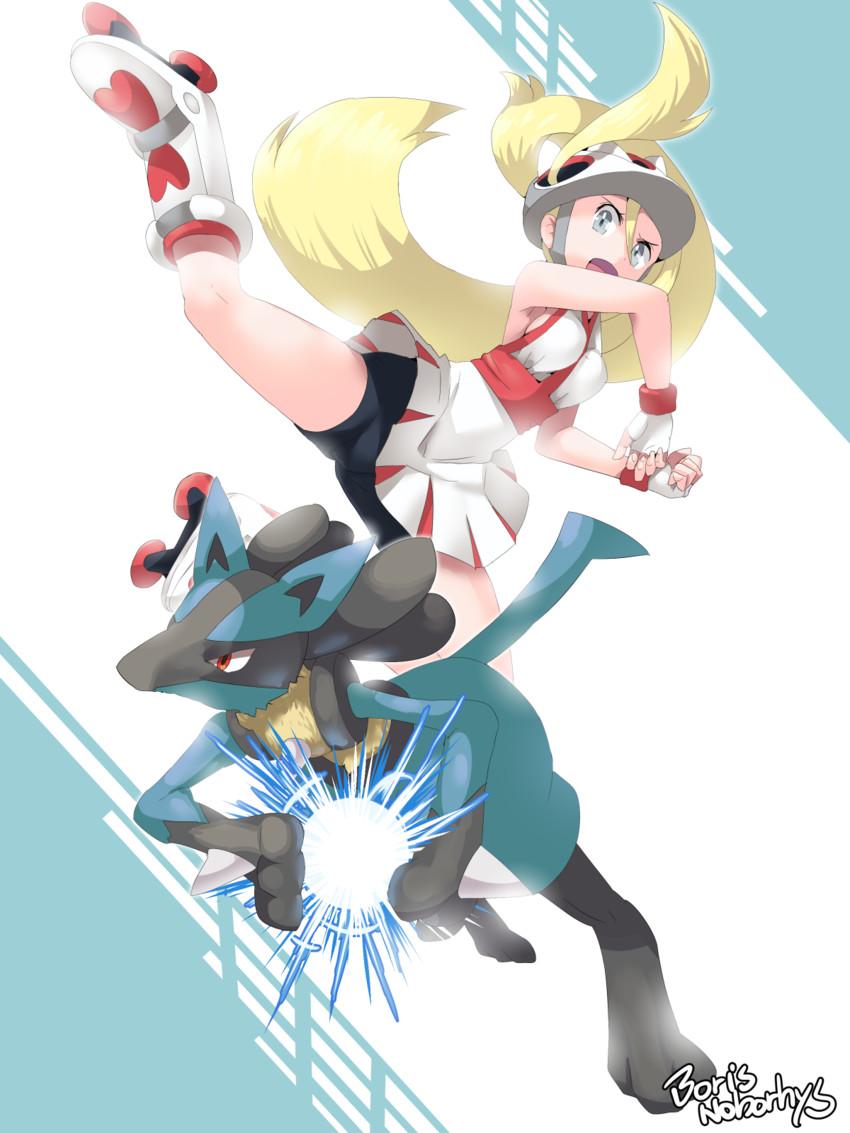 lucario and korrina (pokemon and 2 more) drawn by boris