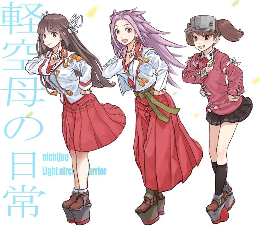 hiyou, jun'you, and ryuujou (kantai collection and etc) drawn by gufu (guffuumu)