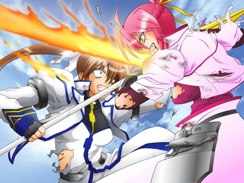 levantine, raising heart, signum, and takamachi nanoha (lyrical nanoha and mahou shoujo lyrical nanoha strikers)