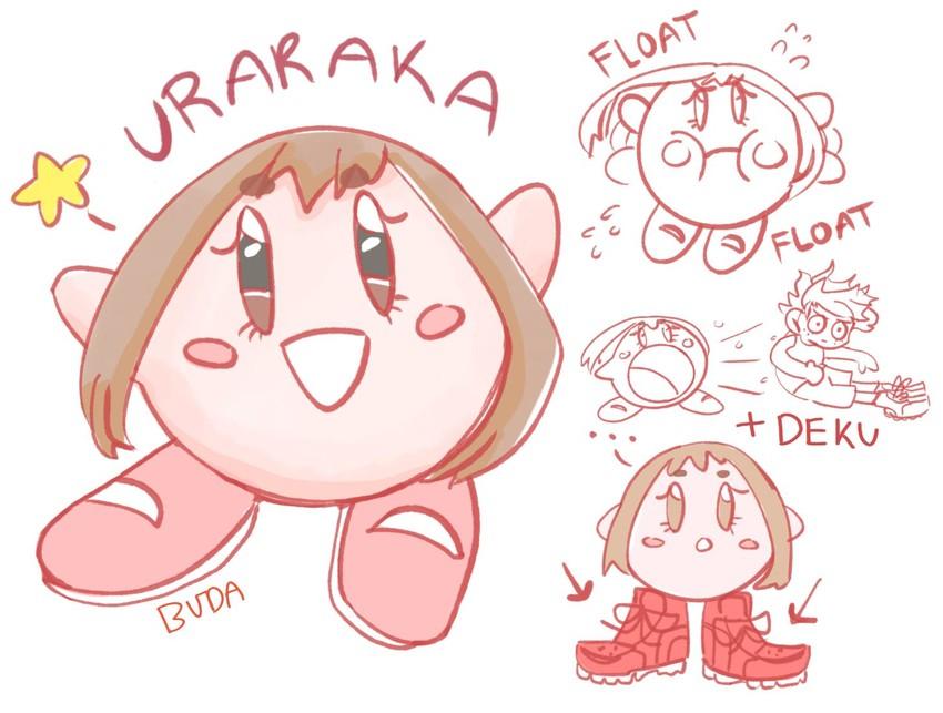 kirby, midoriya izuku, and uraraka ochako (boku no hero academia and etc) drawn by blondie-buda