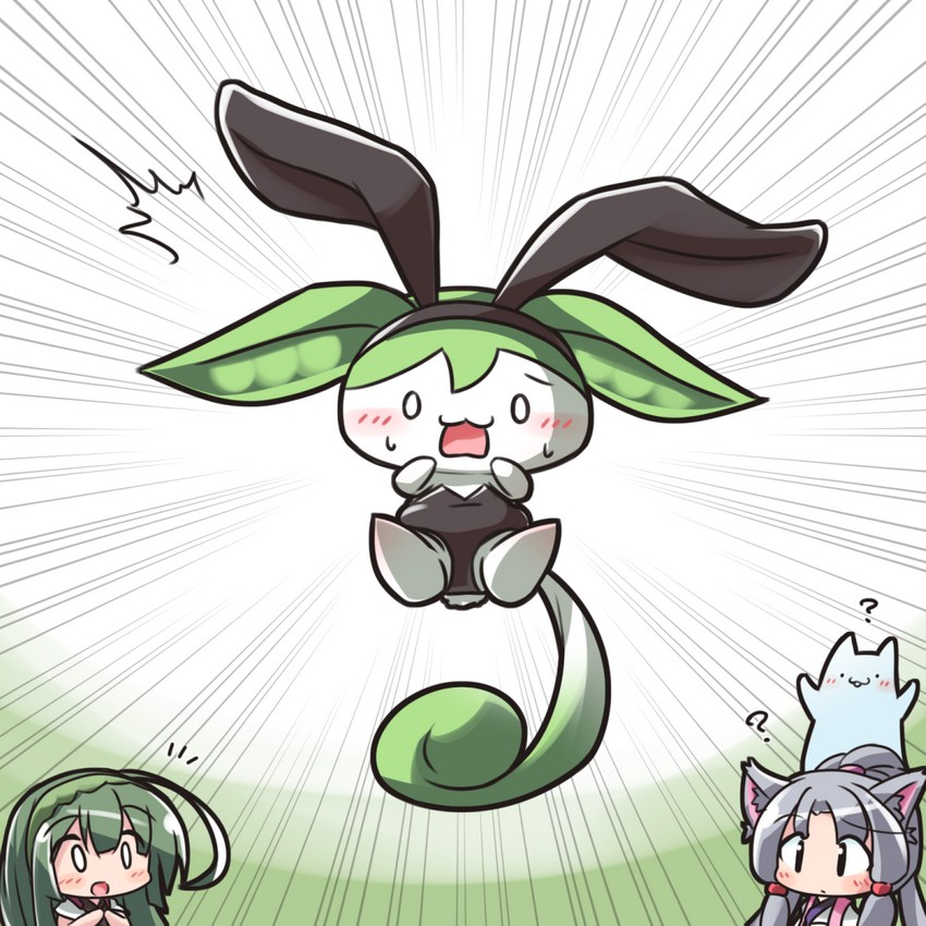 touhoku itako, touhoku zunko, and zundamon (utau, vocaloid, and voiceroid) drawn by ryogo