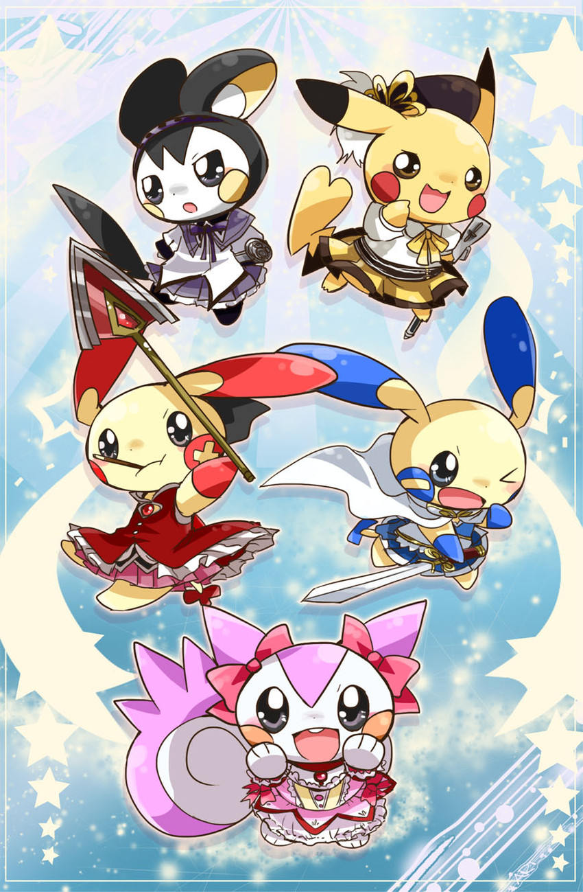 kaname madoka, sakura kyouko, akemi homura, miki sayaka, tomoe mami, and etc (mahou shoujo madoka magica and etc) drawn by nono (norabi)