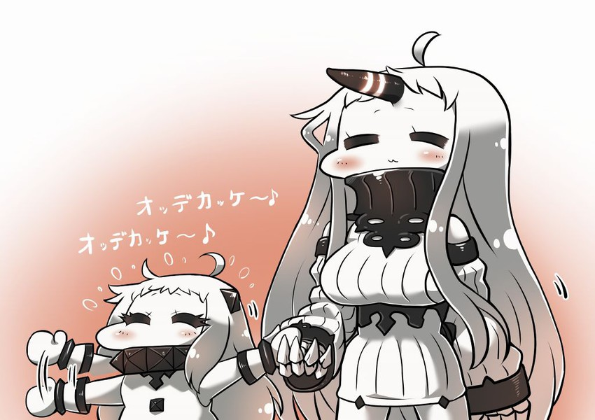 northern ocean hime and seaport hime (kantai collection) drawn by tanaka kusao