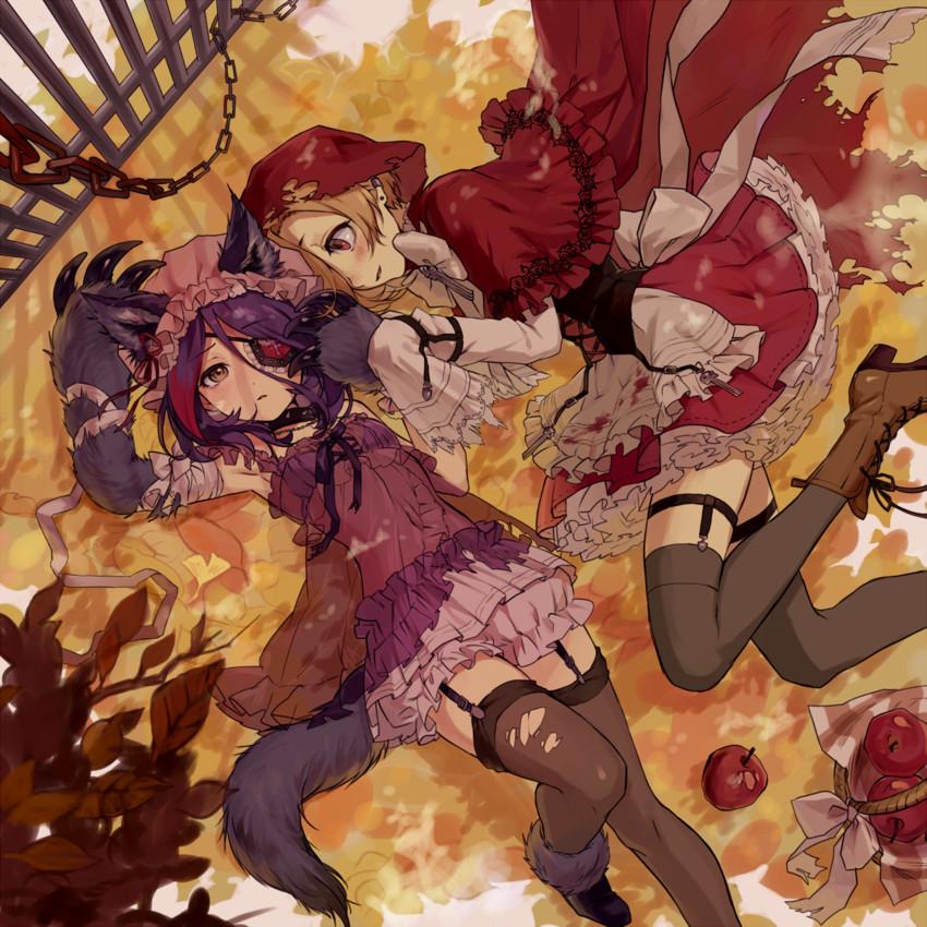 big bad wolf, hayasaka mirei, little red riding hood, and shirasaka koume (idolmaster, idolmaster cinderella girls, and little red riding hood) drawn by tamaext