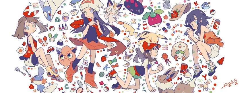 haruka, hikari, mizuki, ayumi, jigglypuff, and etc (pokemon (game) and etc) drawn by auko
