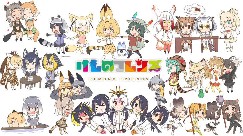 black-tailed prairie dog, golden snub-nosed monkey, northern white-faced owl, japanese crested ibis, reticulated giraffe, and etc (kemono friends) drawn by makuran