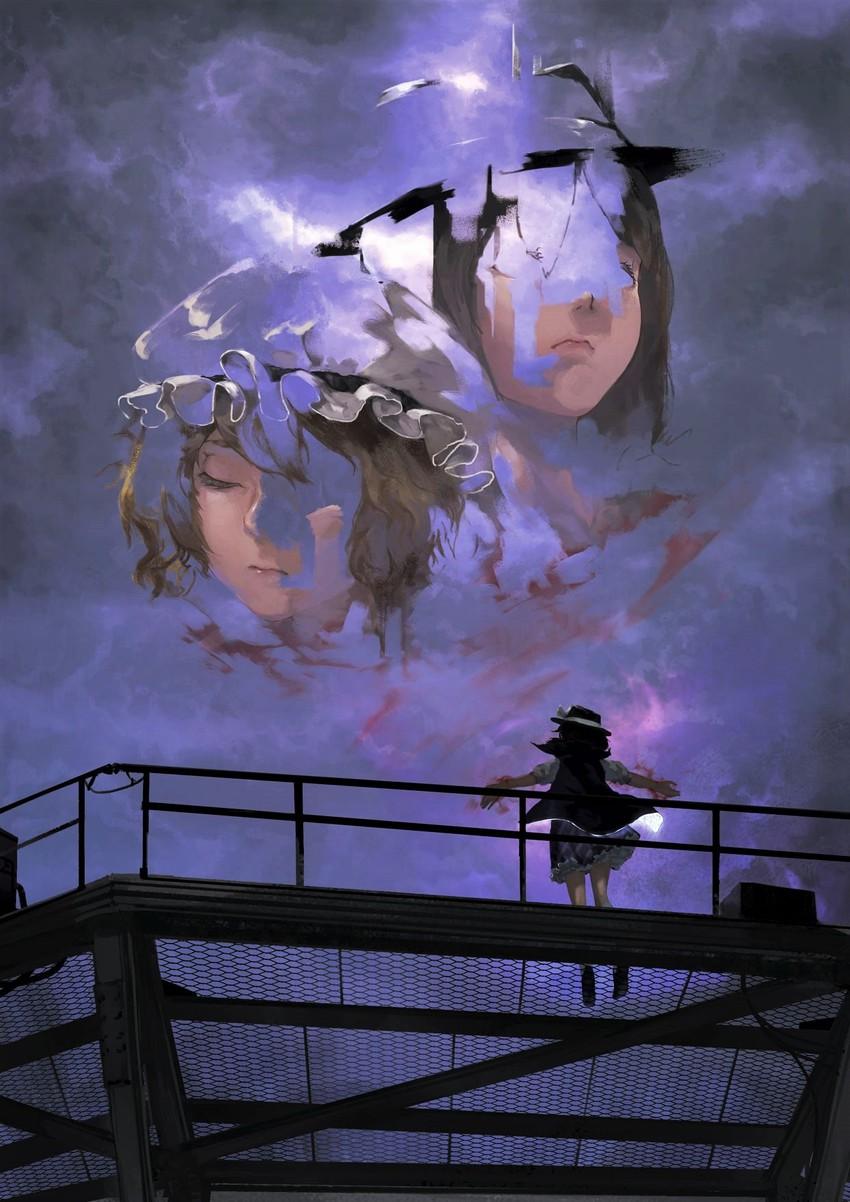 maribel hearn, usami renko, and usami sumireko (touhou) drawn by kaatoso