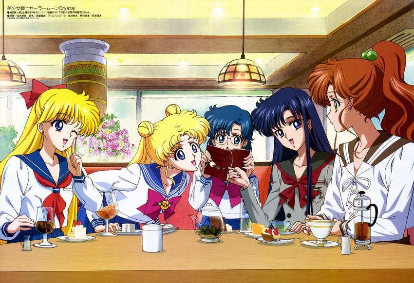 aino minako, hino rei, kino makoto, mizuno ami, and tsukino usagi (animedia, bishoujo senshi sailor moon, and bishoujo senshi sailor moon crystal) drawn by sakou yukie