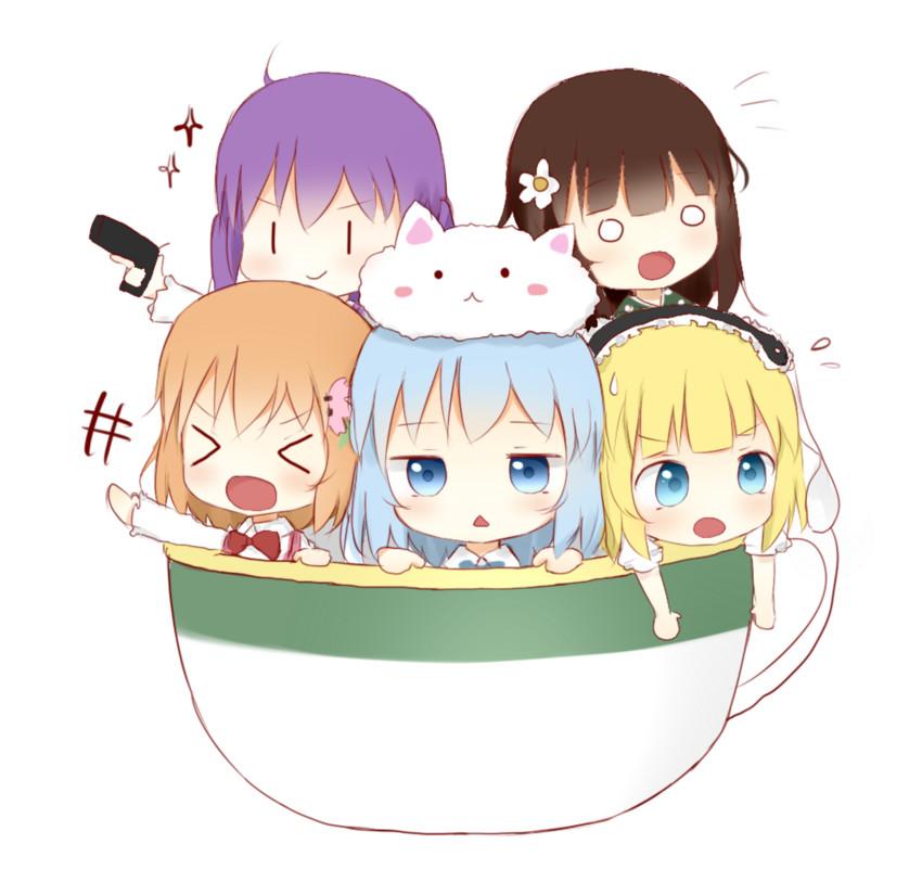 hoto cocoa, kafuu chino, kirima sharo, tedeza rize, tippy, and others (gochuumon wa usagi desu ka?) drawn by antidote
