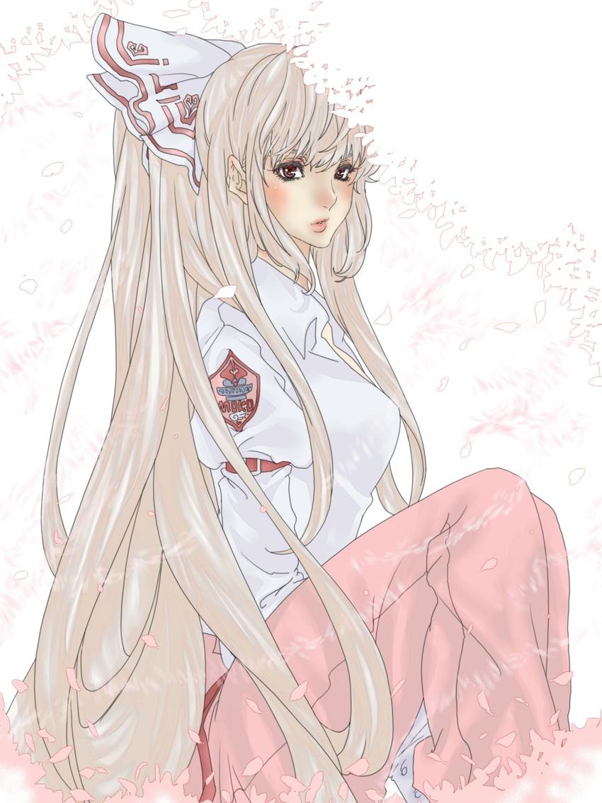 fujiwara no mokou (touhou) drawn by poruhi