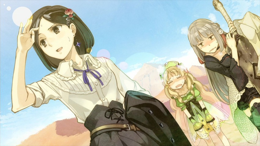 ayesha altugle, linca, and marion quinn (atelier (series) and atelier ayesha) drawn by hidari (left side)