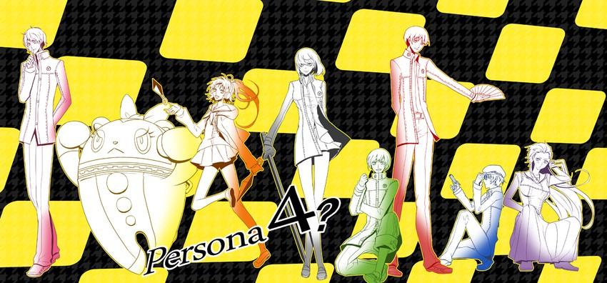 amagi yukiko, hanamura yousuke, kujikawa rise, kuma, narukami yuu, and others (persona and persona 4) drawn by xxvsxx