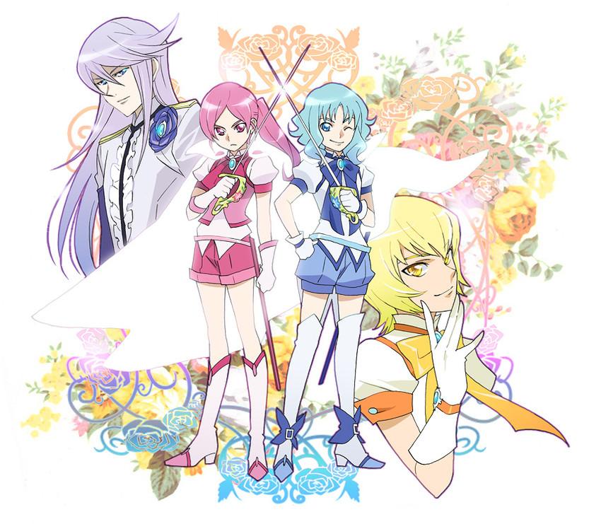 cure blossom, cure marine, cure moonlight, cure sunshine, hanasaki tsubomi, and others (heartcatch precure! and precure) drawn by komejiru tatsunoshin