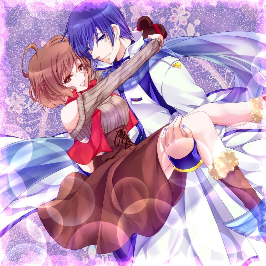 kaito and meiko (vocaloid) drawn by tonyo (milky crown)