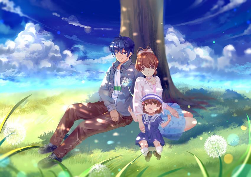 Furukawa Nagisa Okazaki Tomoya And Okazaki Ushio Clannad Drawn