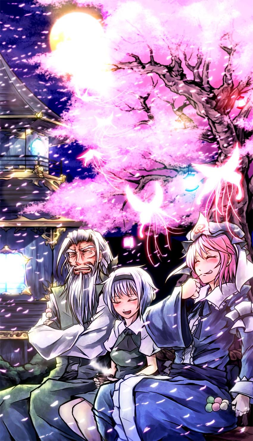 konpaku youki, konpaku youmu, and saigyouji yuyuko (touhou) drawn by ryuuichi (f dragon)