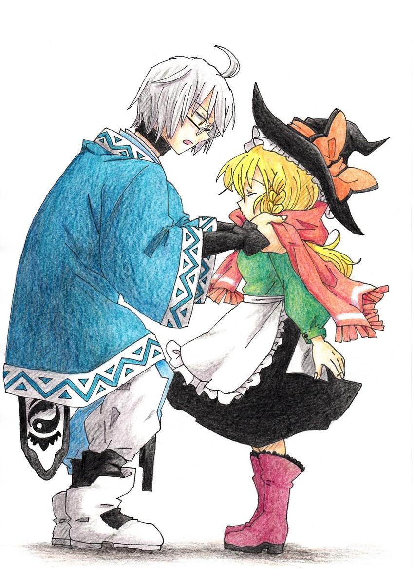 kirisame marisa and morichika rinnosuke (touhou) drawn by suzuki (0alj1216)