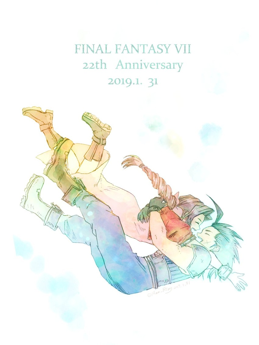 aerith gainsborough and zack fair (crisis core final fantasy vii and etc) drawn by komugiko no mori
