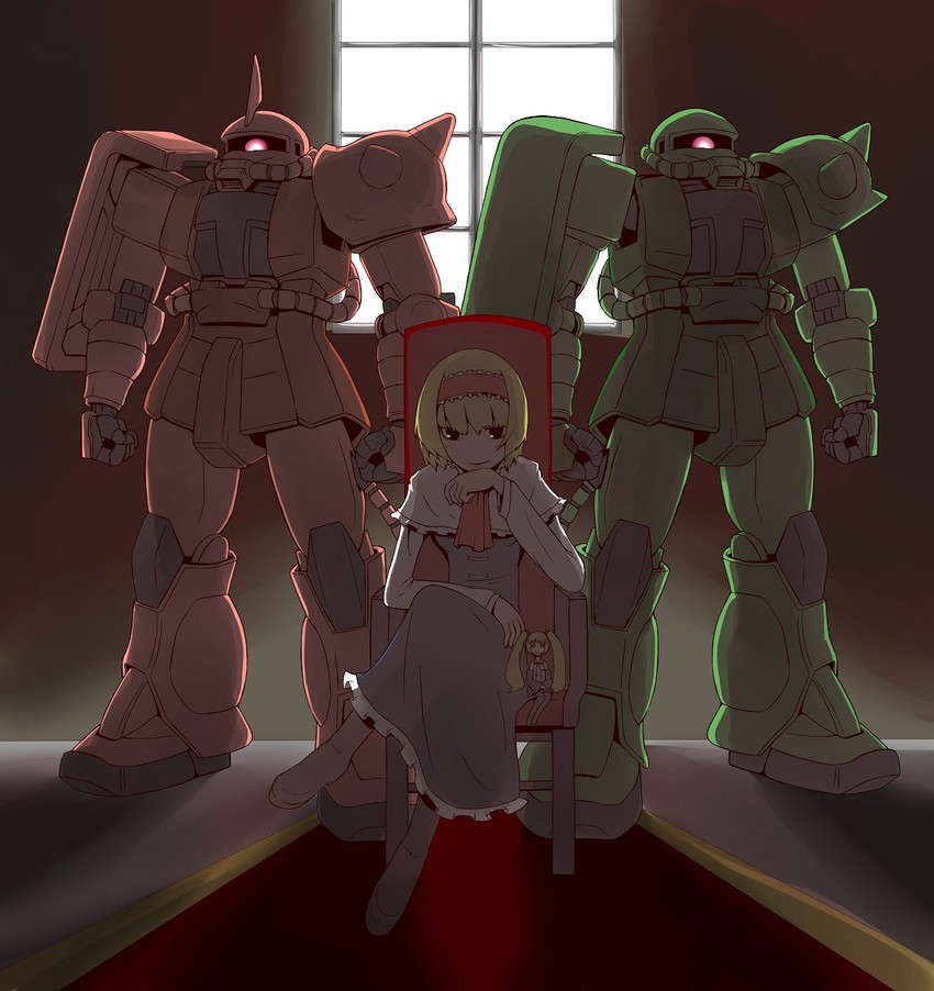 zaku ii s char custom, alice margatroid, hatsune miku, zaku ii f/j, zaku ii, and etc (mobile suit gundam and etc) drawn by zannen na hito