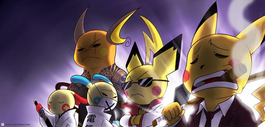 minun, pichu, pikachu, plusle, and raichu (pokemon) drawn ...