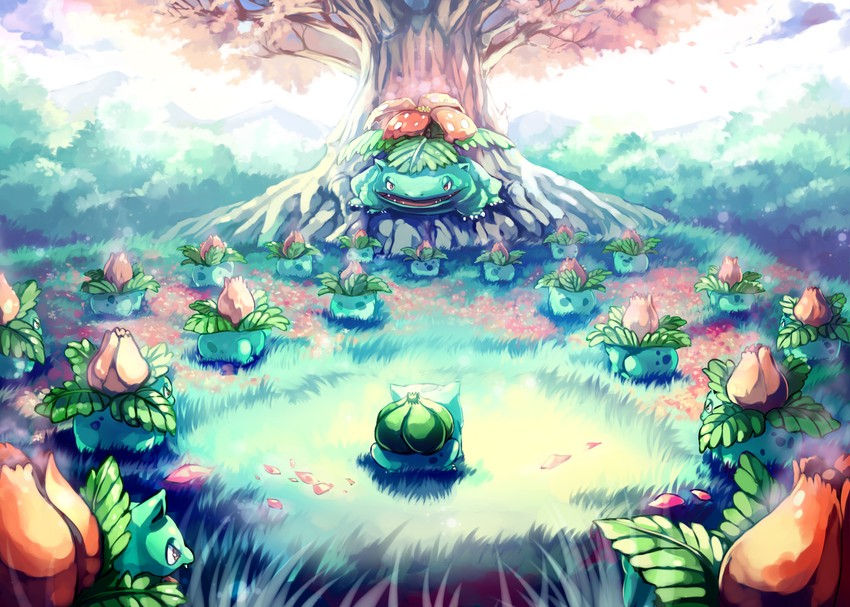 bulbasaur, ivysaur, and venusaur (pokemon and pokemon (anime)) drawn by sa-dui