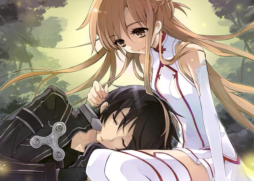 asuna and kirito (sword art online) drawn by itou noiji