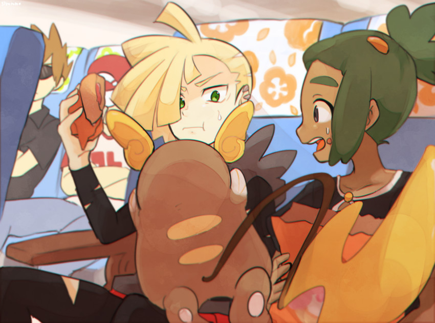 alolan raichu, gladio, hau, ookido green, raichu, and others (pokemon, pokemon (game), and pokemon sm) drawn by siroromo
