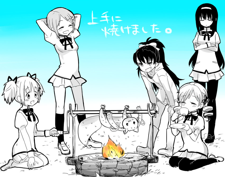 akemi homura, kaname madoka, kyubey, miki sayaka, sakura kyouko, and others (mahou shoujo madoka magica and monster hunter) drawn by shimoneta