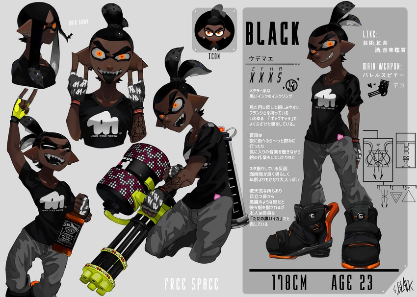 black and inkling (splatoon (series) and etc) drawn by