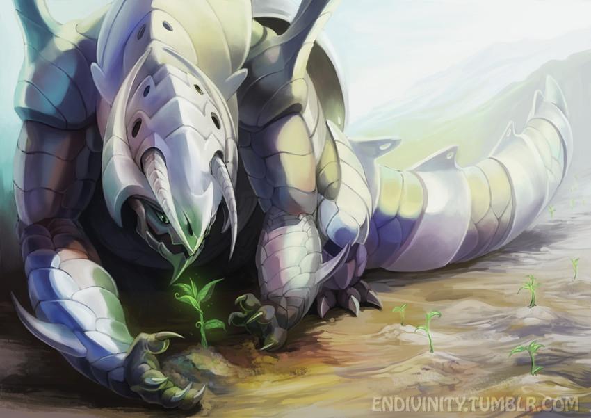 aggron and mega aggron (pokemon) drawn by endivinity