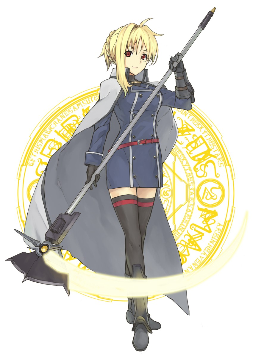 bardiche and fate testarossa (lyrical nanoha and mahou shoujo lyrical nanoha strikers) drawn by shirogane (fox)