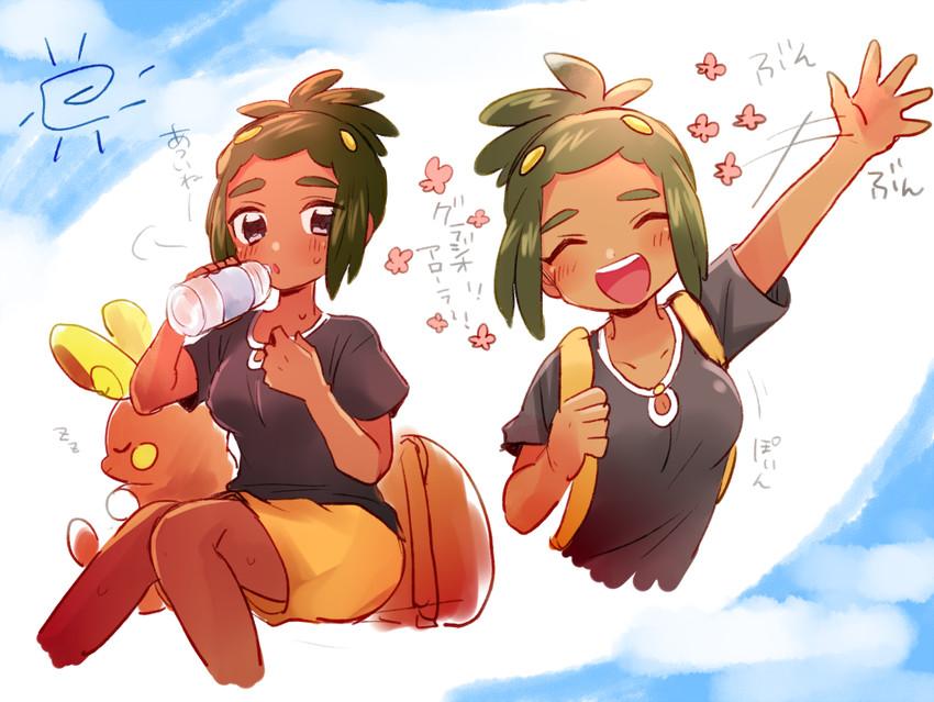 alolan raichu, hau, and raichu (pokemon, pokemon (game), and pokemon sm) drawn by mofuren
