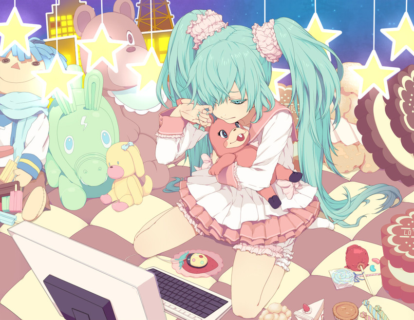 hatsune miku and kaito (lots of laugh (vocaloid) and vocaloid) drawn by nayu