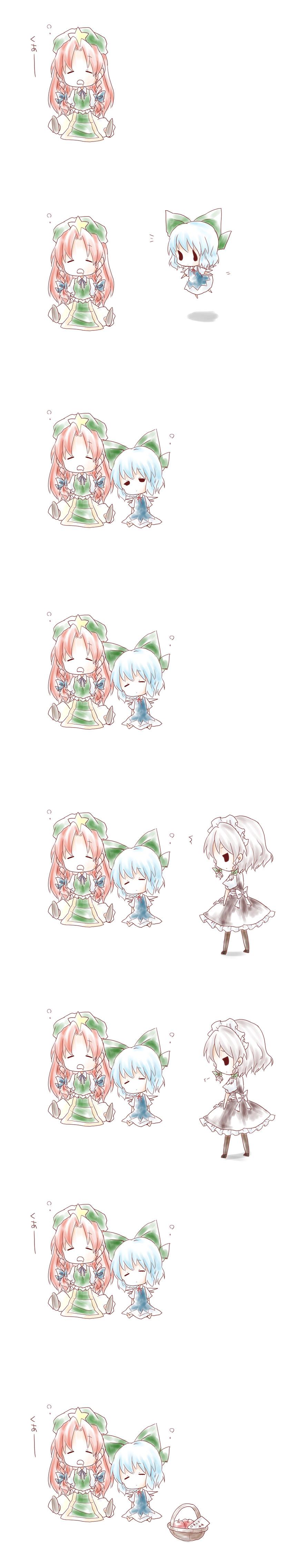 cirno, hong meiling, and izayoi sakuya (touhou) drawn by kuromame (8gou)