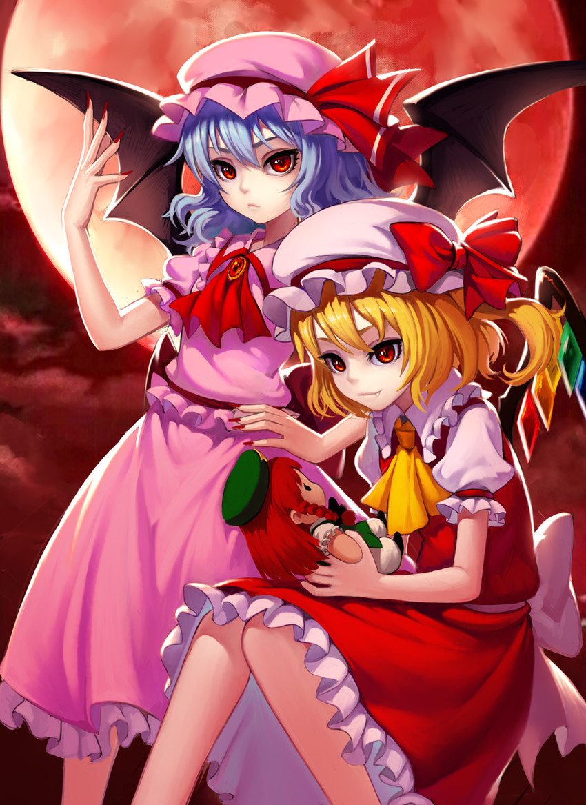flandre scarlet, hong meiling, and remilia scarlet (touhou) drawn by fkey