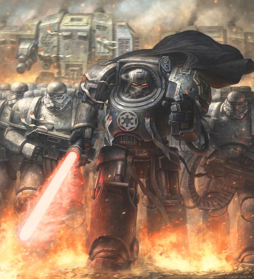 adeptus astartes, darth vader, and dreadnought (warhammer 40k and