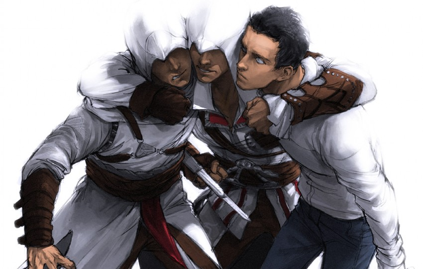 Ezio Auditore Da Firenze Altair Ibn La Ahad And Desmond Miles Assassin S Creed And 2 More Danbooru