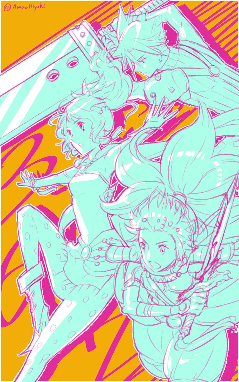 cloud strife, onion knight, and tina branford (dissidia final fantasy and etc) drawn by amatari sukuzakki